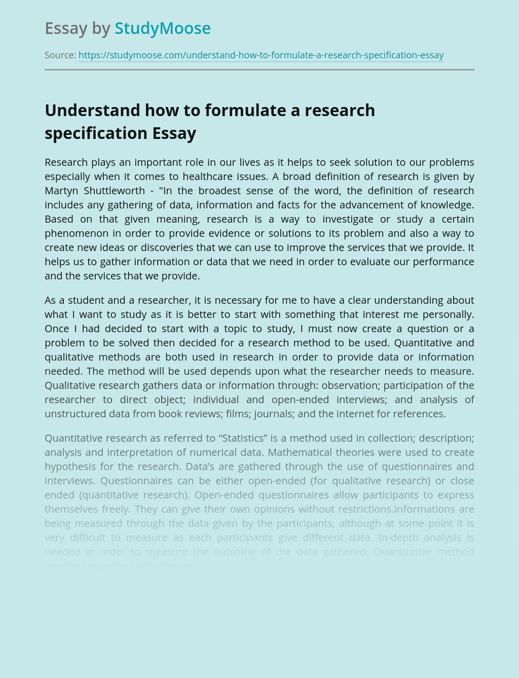 Understand how to formulate a research specification