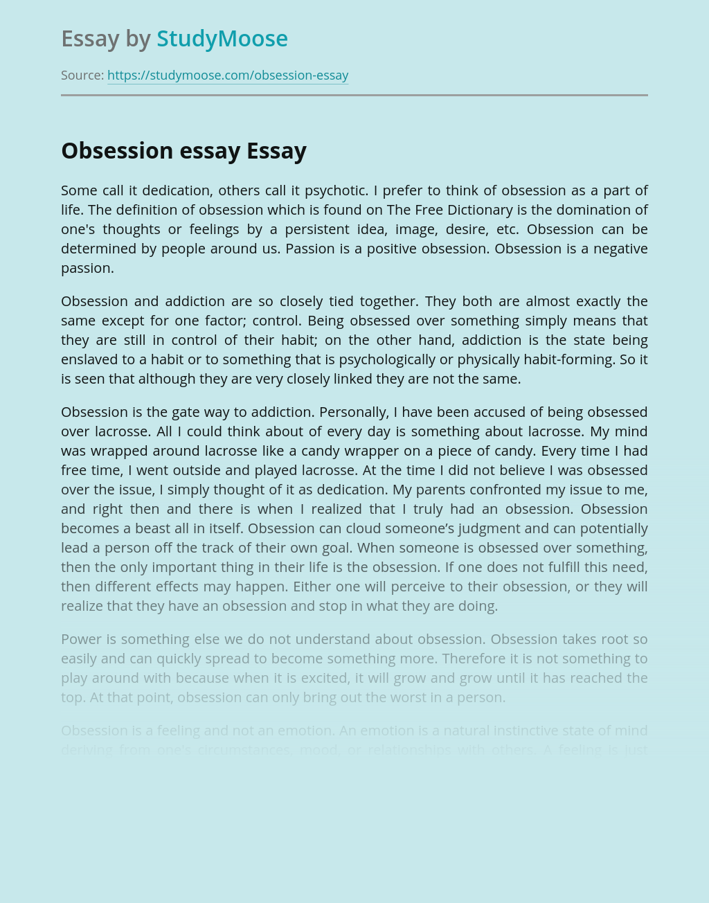 Obsession Essay Free Essay Example