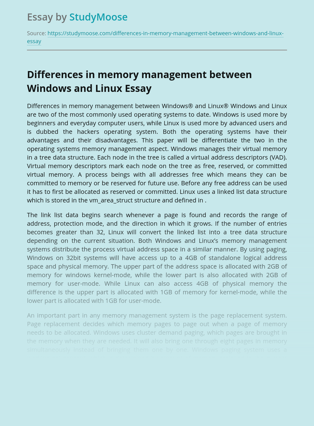 Differences in memory management between Windows and Linux