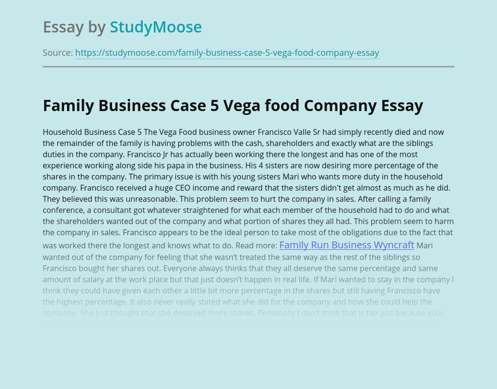 Family Business Case 5 Vega food Company