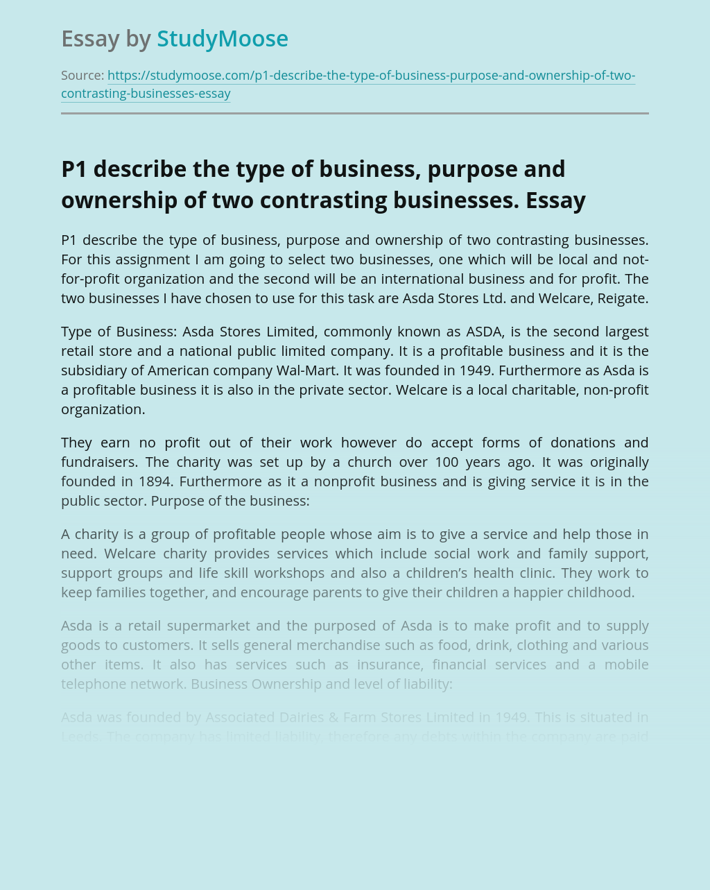 P1 describe the type of business, purpose and ownership of two contrasting businesses.