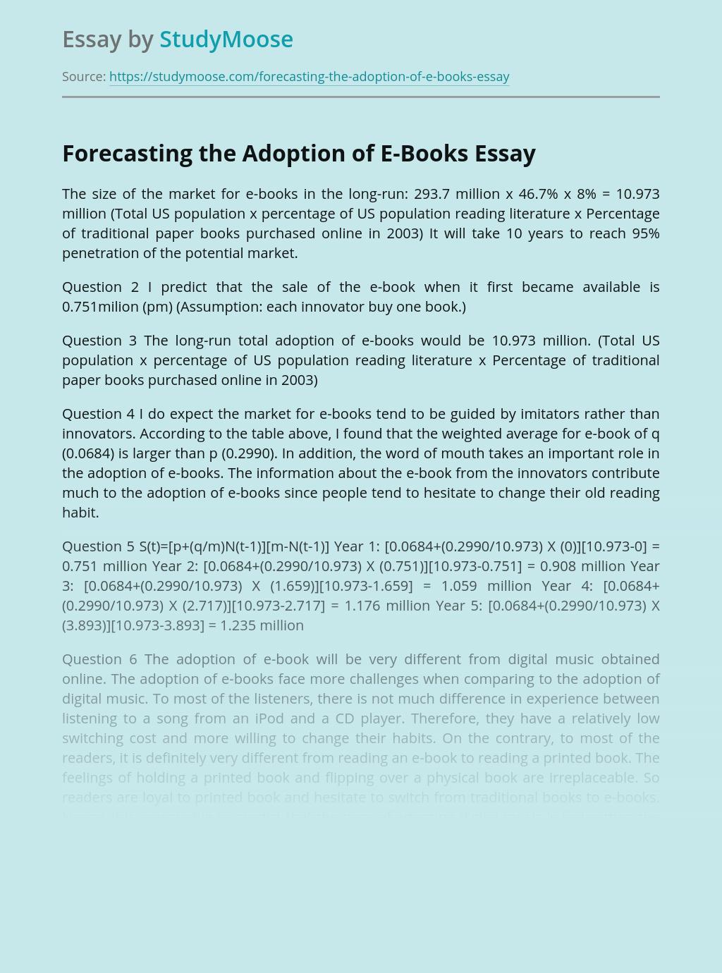 Forecasting the Adoption of E-Books