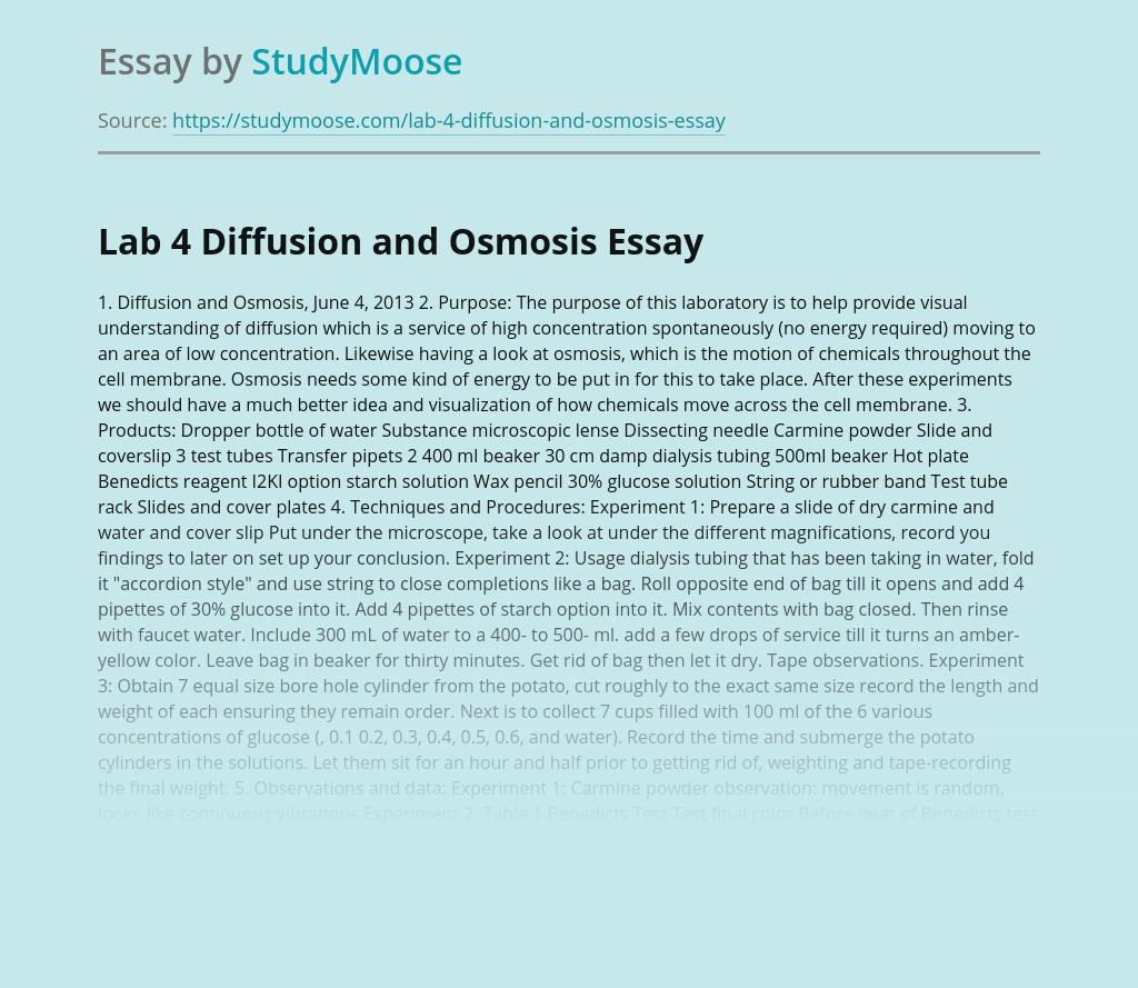 Lab 4 Diffusion and Osmosis