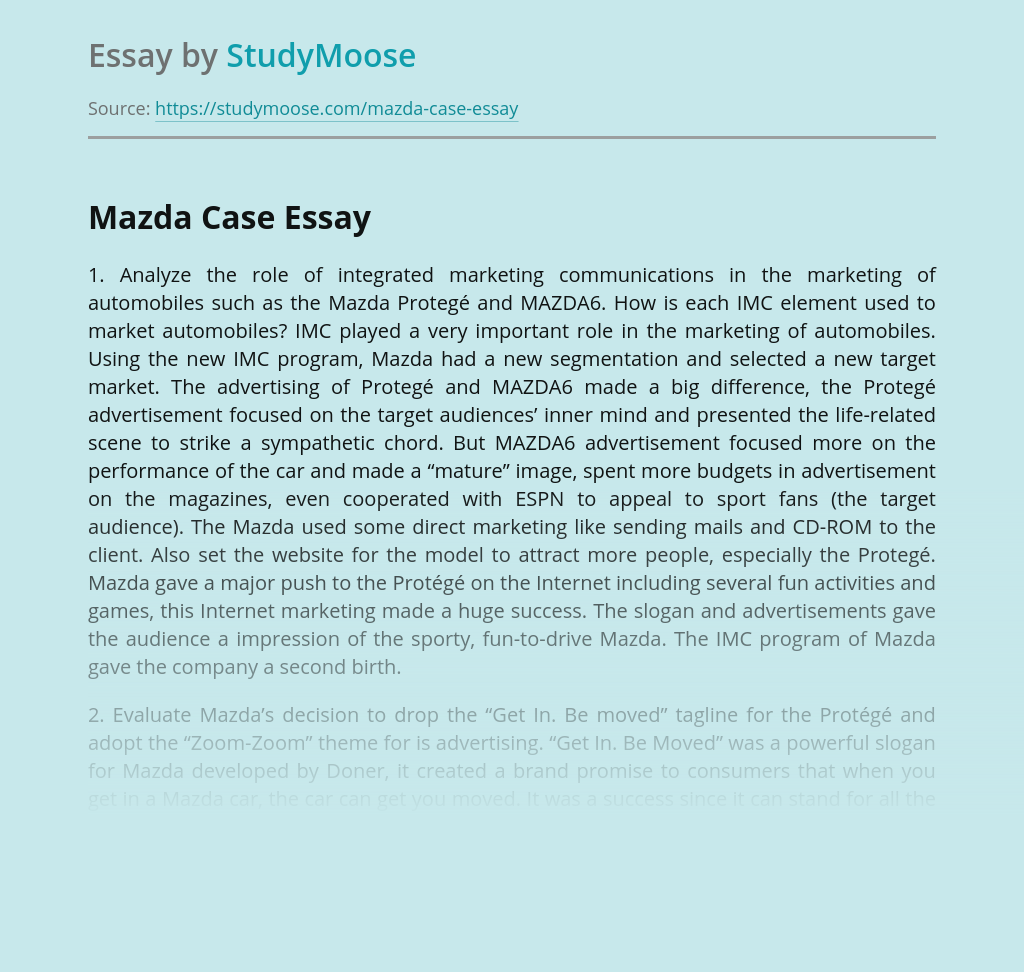 Mazda Marketing Strategy