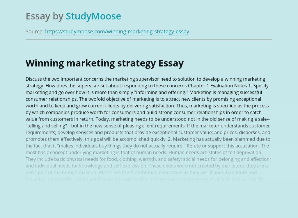 Winning marketing strategy