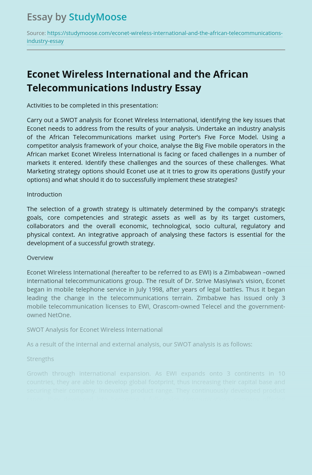 Econet Wireless International and the African Telecommunications Industry