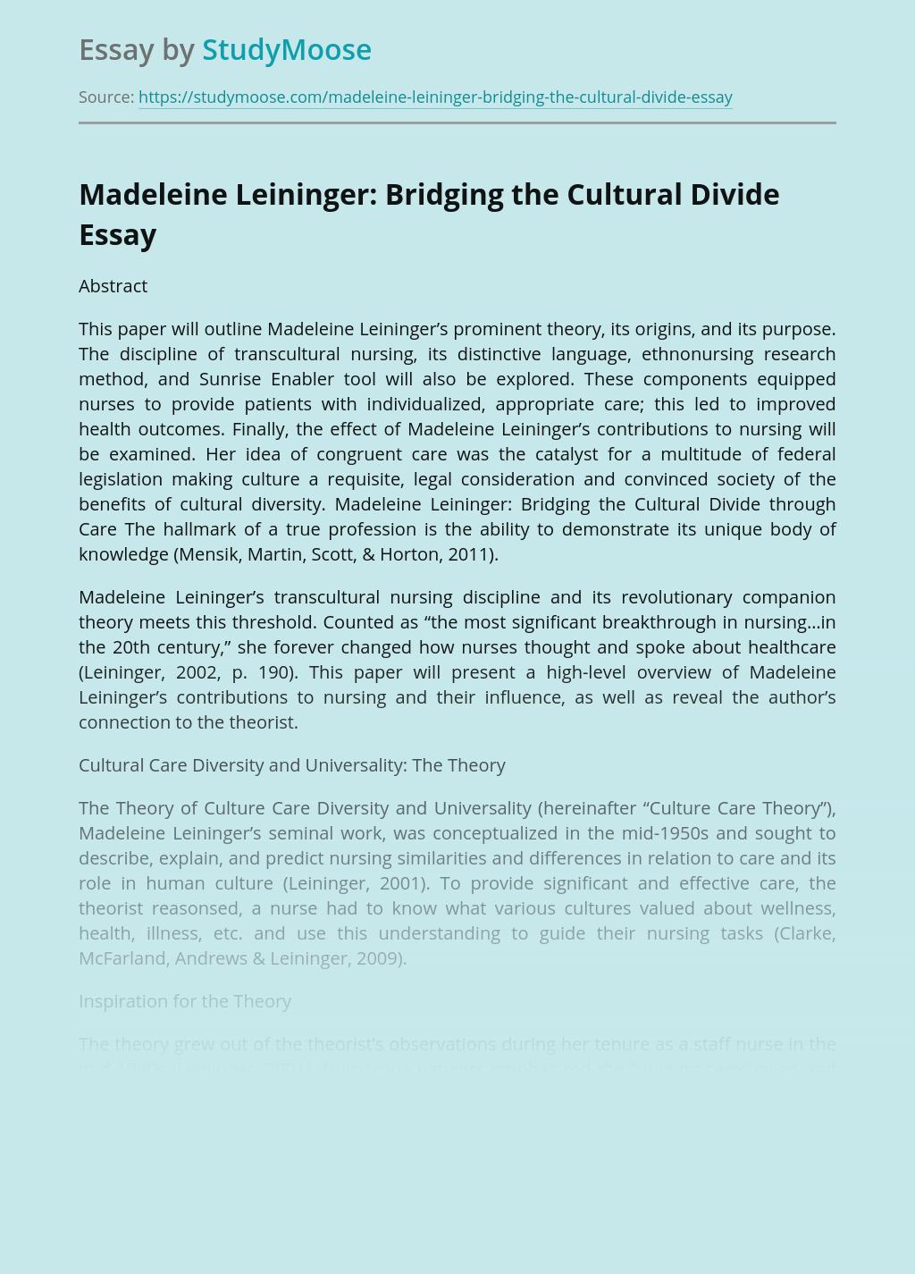 Madeleine Leininger: Bridging the Cultural Divide