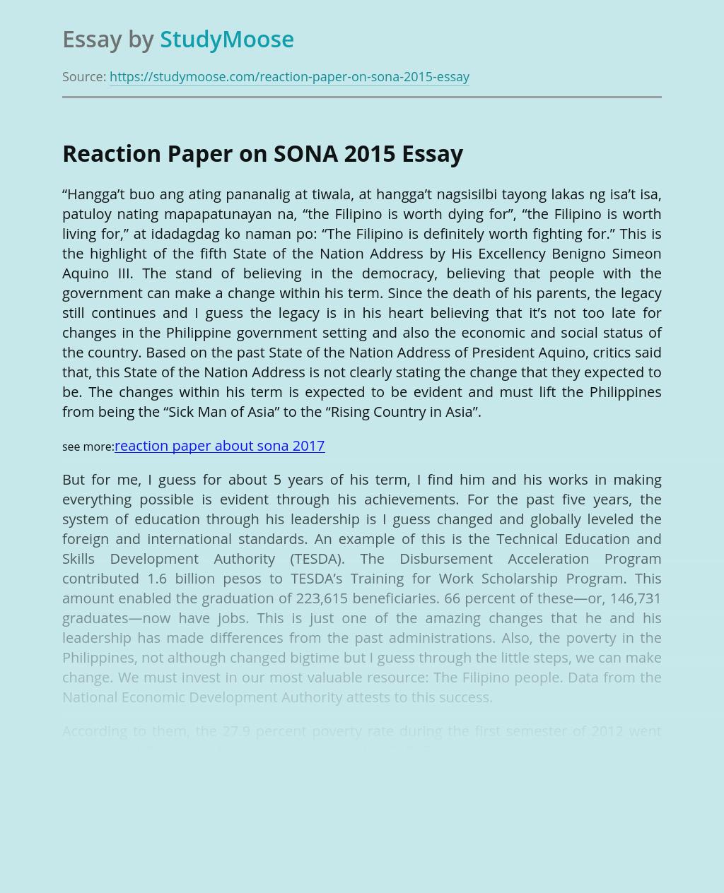 Reaction Paper on SONA 2015 Speech Presentation