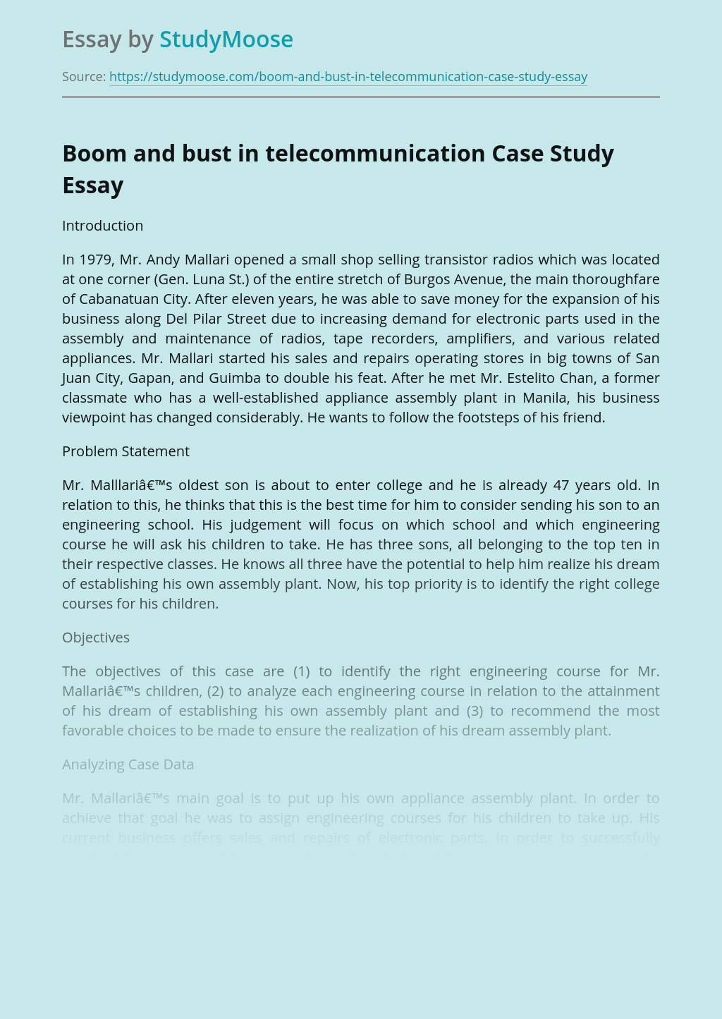 Boom and bust in telecommunication Case Study