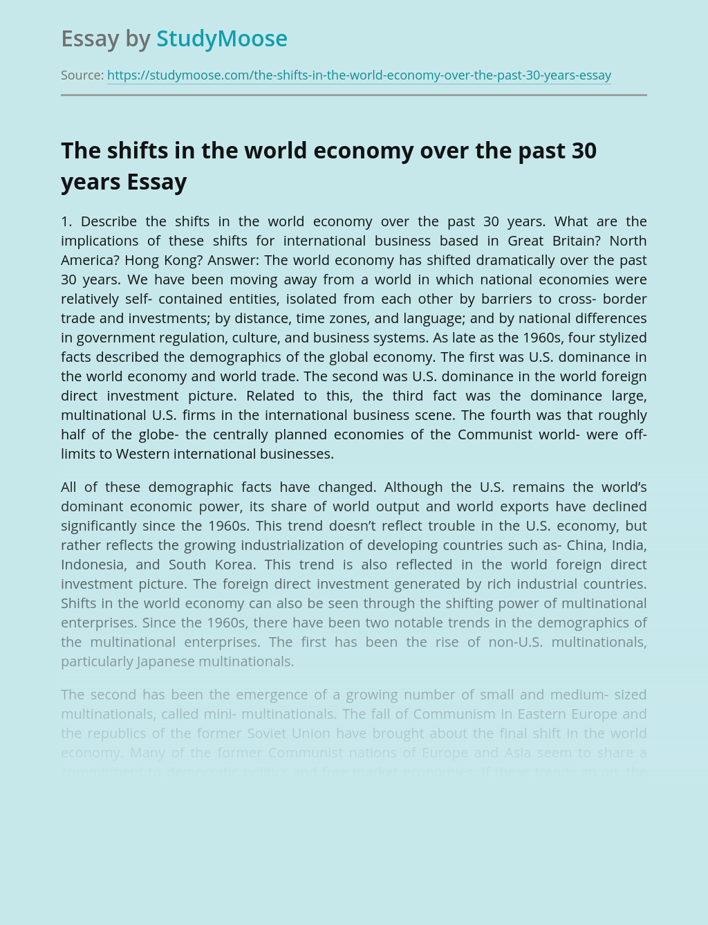 The shifts in the world economy over the past 30 years