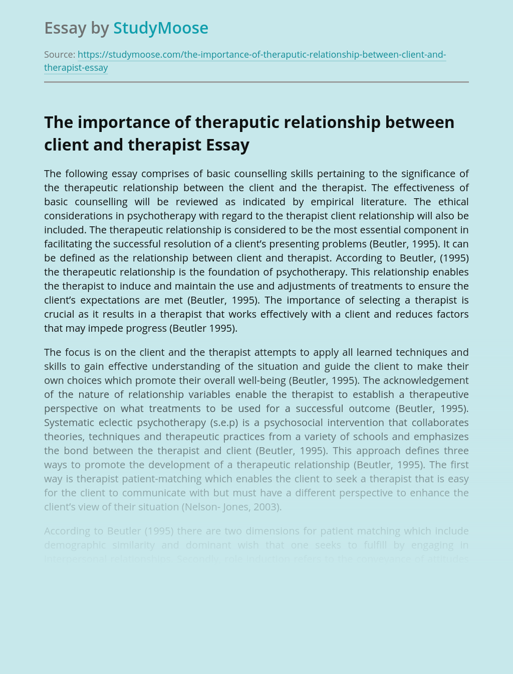 The importance of theraputic relationship between client and therapist