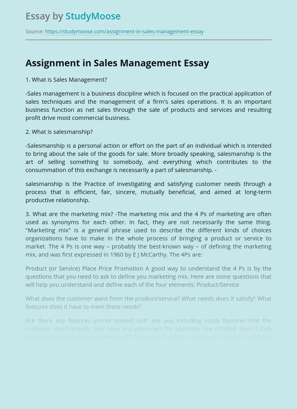 Assignment in Sales Management