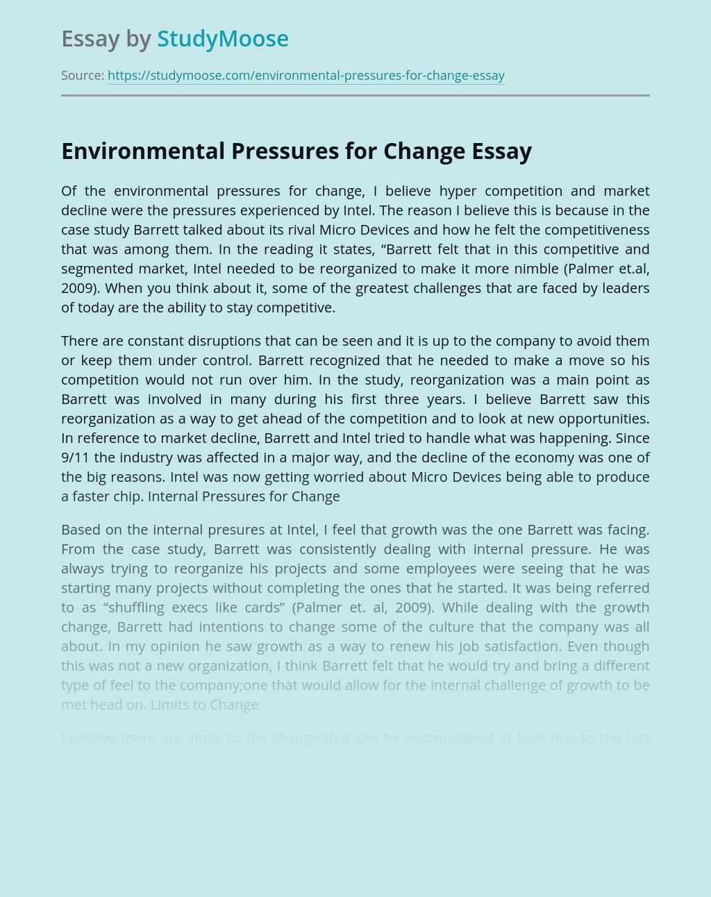 Environmental Pressures for Change