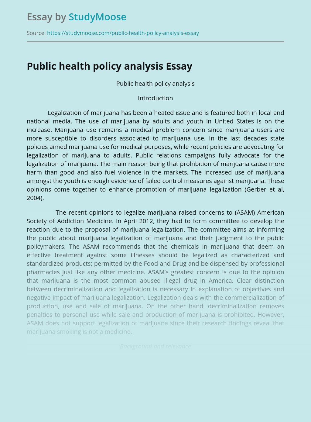 Public health policy analysis