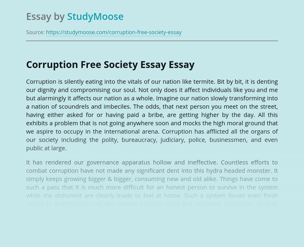 Corruption Free Society Essay