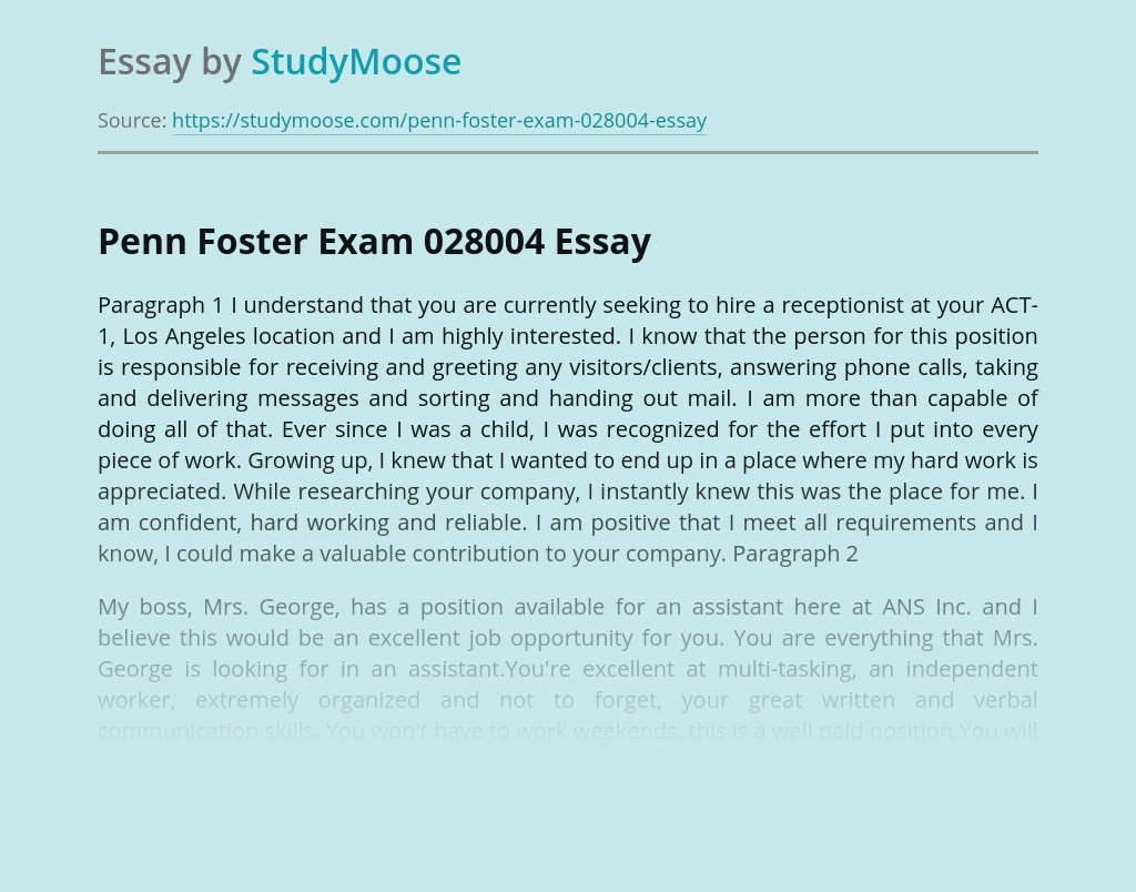 Penn Foster Exam 028004