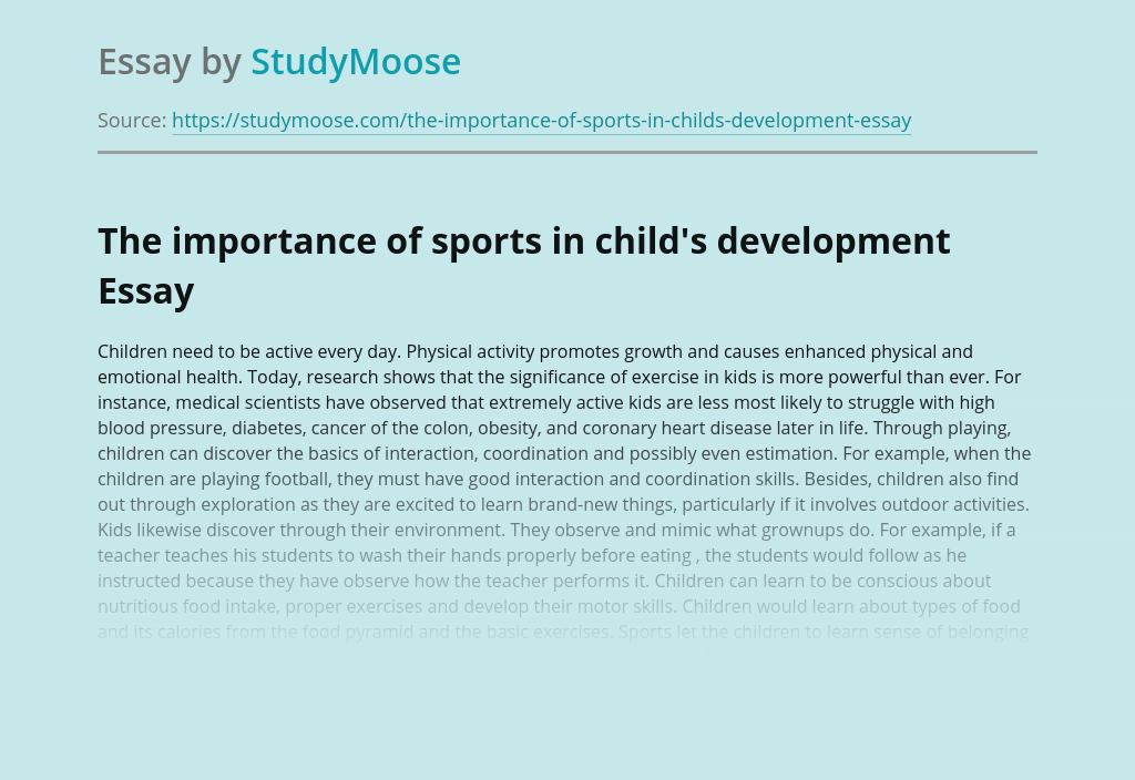 The importance of sports in child's development