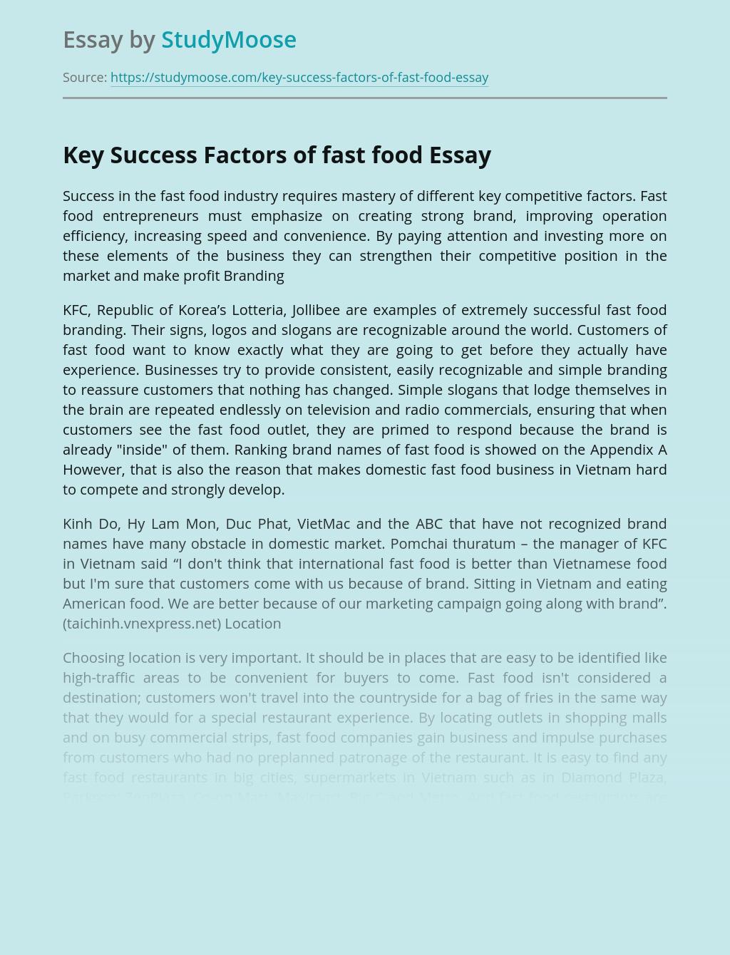 Key Success Factors of fast food