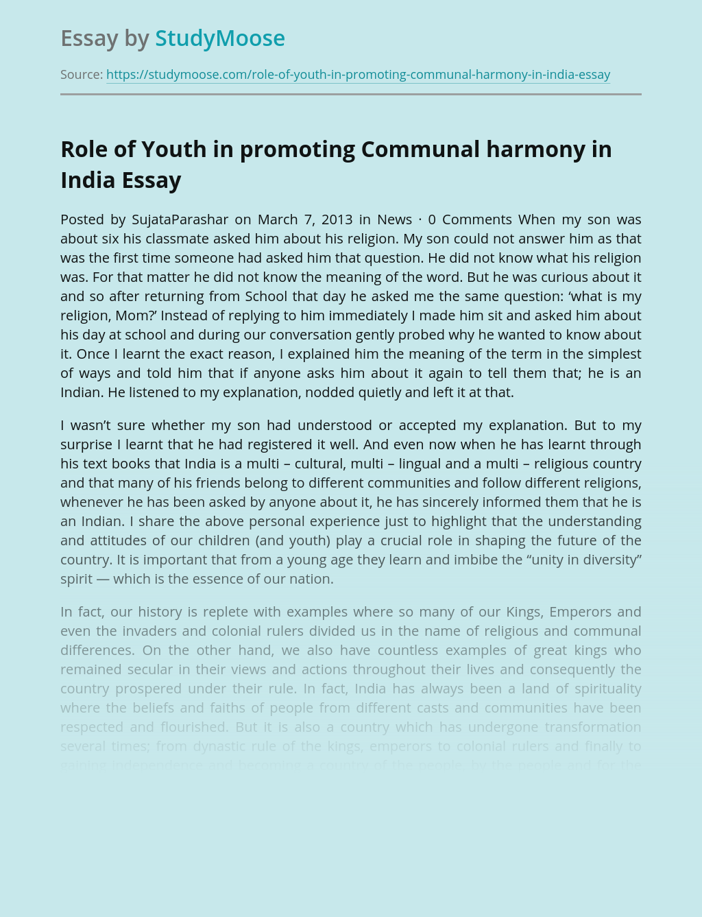 ?Role of Youth in promoting Communal harmony in India