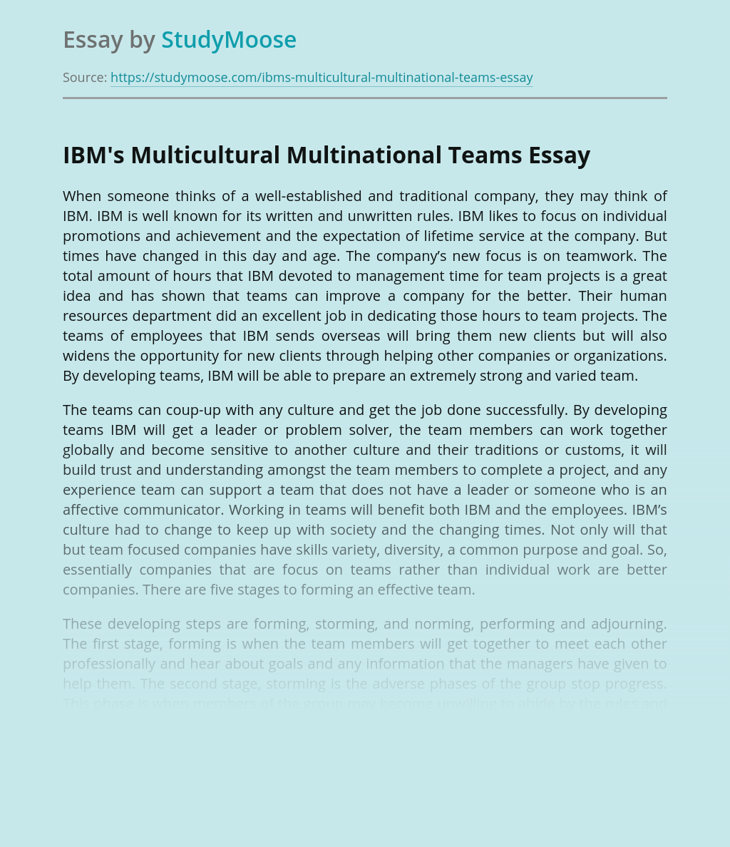 IBM's Multicultural Multinational Teams