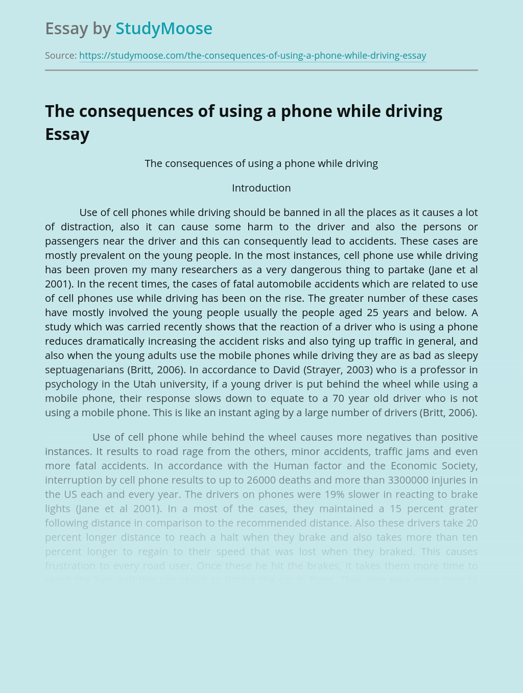 The consequences of using a phone while driving