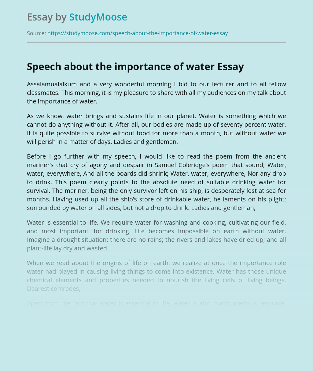 ?Speech about the importance of water