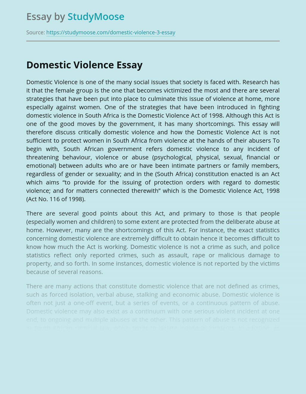 Domestic Violence Is one of the Many Social Issues