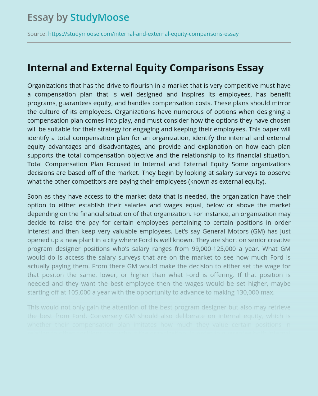 Organization's Internal and External Equity Comparisons