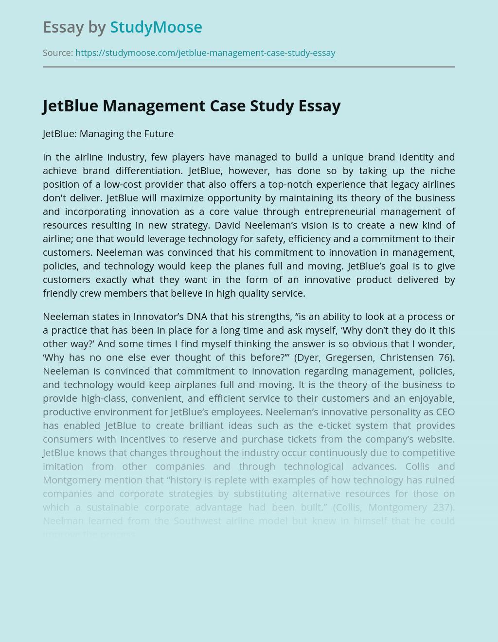 JetBlue Management Case Study