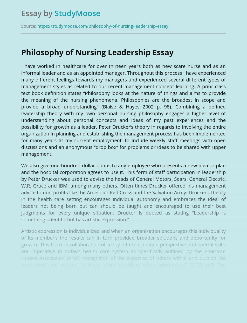 Philosophy of Nursing Leadership