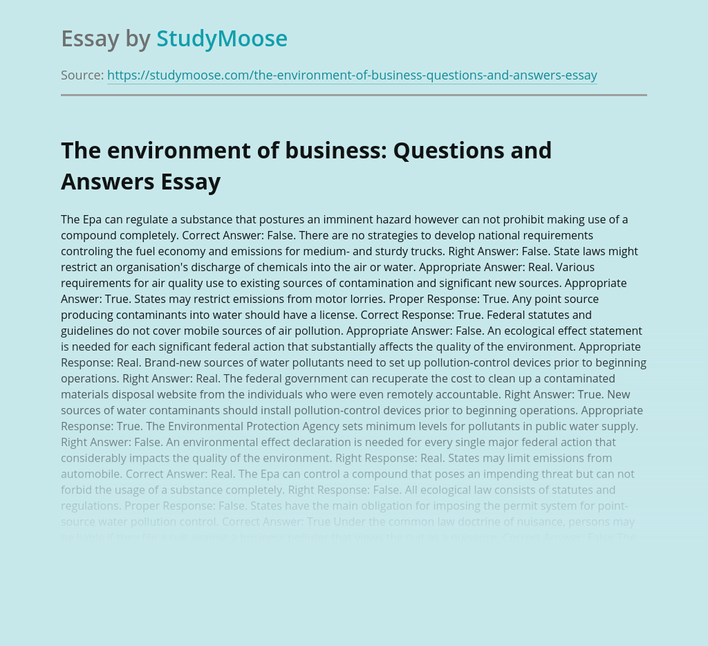 The environment of business: Questions and Answers