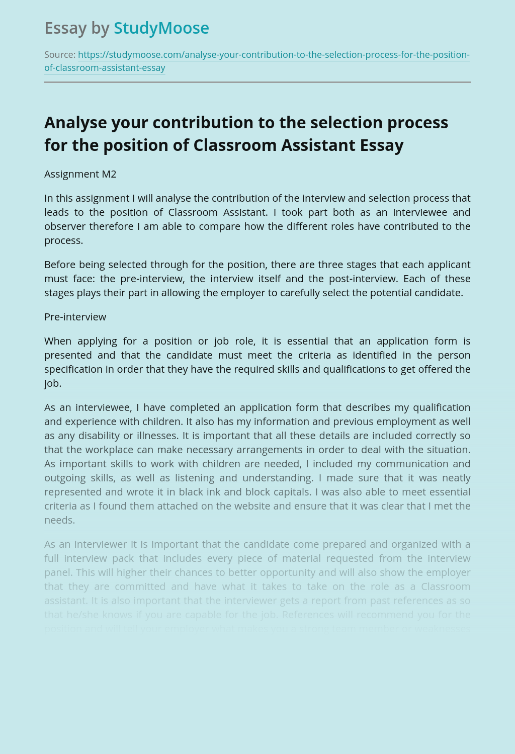 Analyse your contribution to the selection process for the position of Classroom Assistant