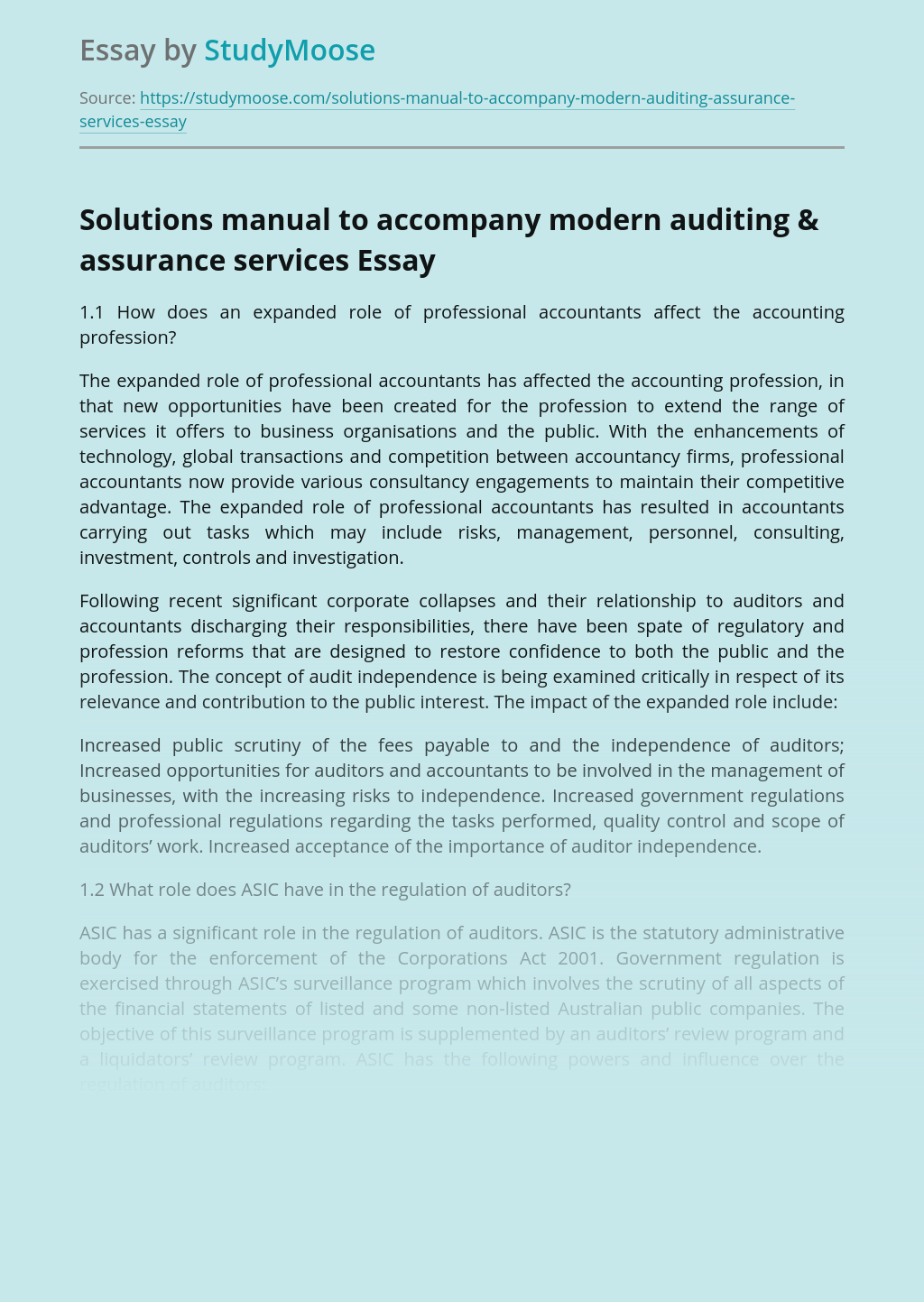 Solutions manual to accompany modern auditing & assurance services
