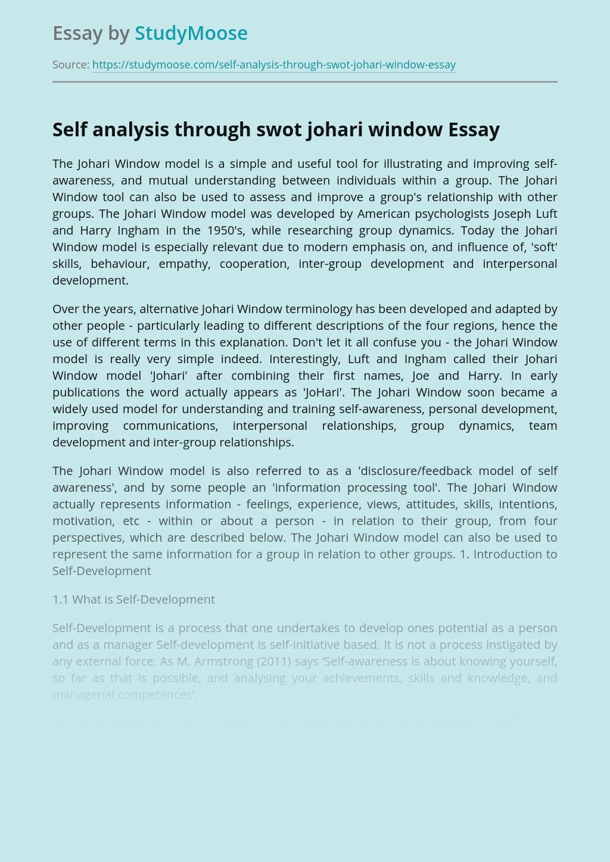 Self analysis through swot johari window