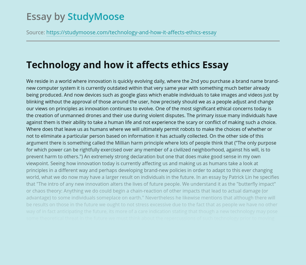 Technology and how it affects ethics