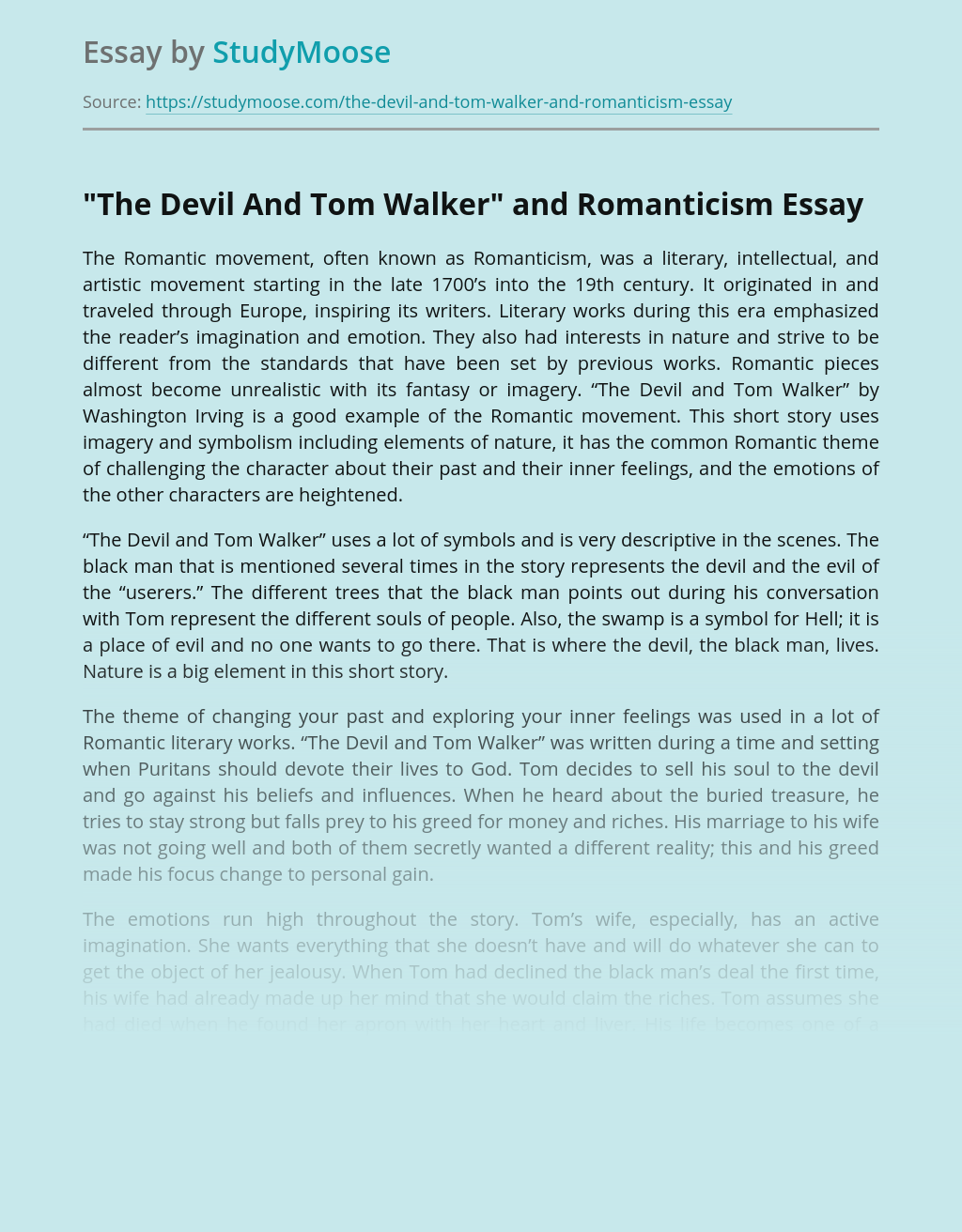 """""""The Devil And Tom Walker"""" and Romanticism"""