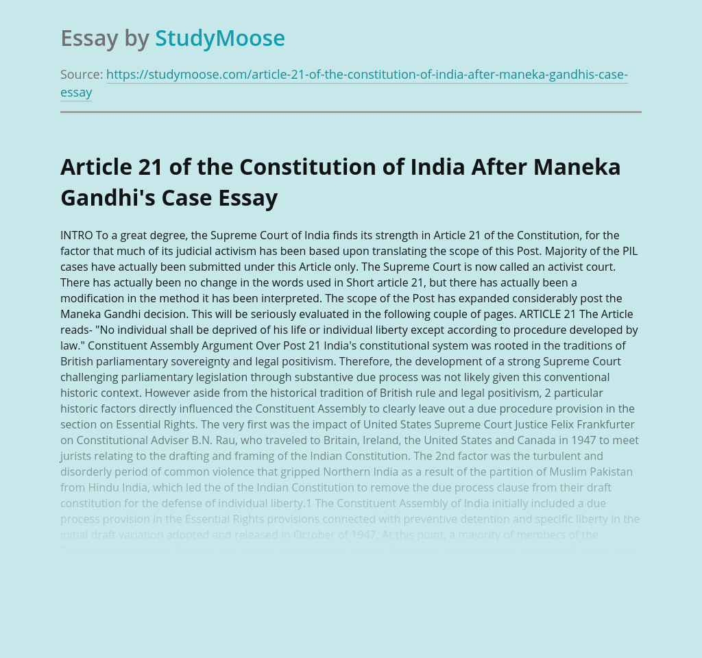 Article 21 of the Constitution of India After Maneka Gandhi's Case