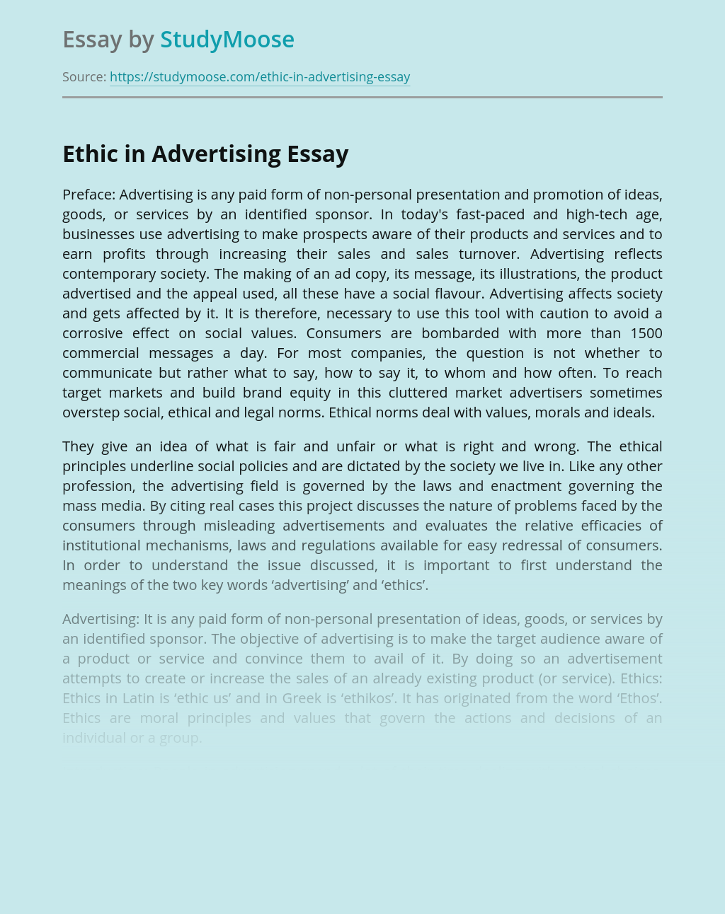 Ethic in Advertising