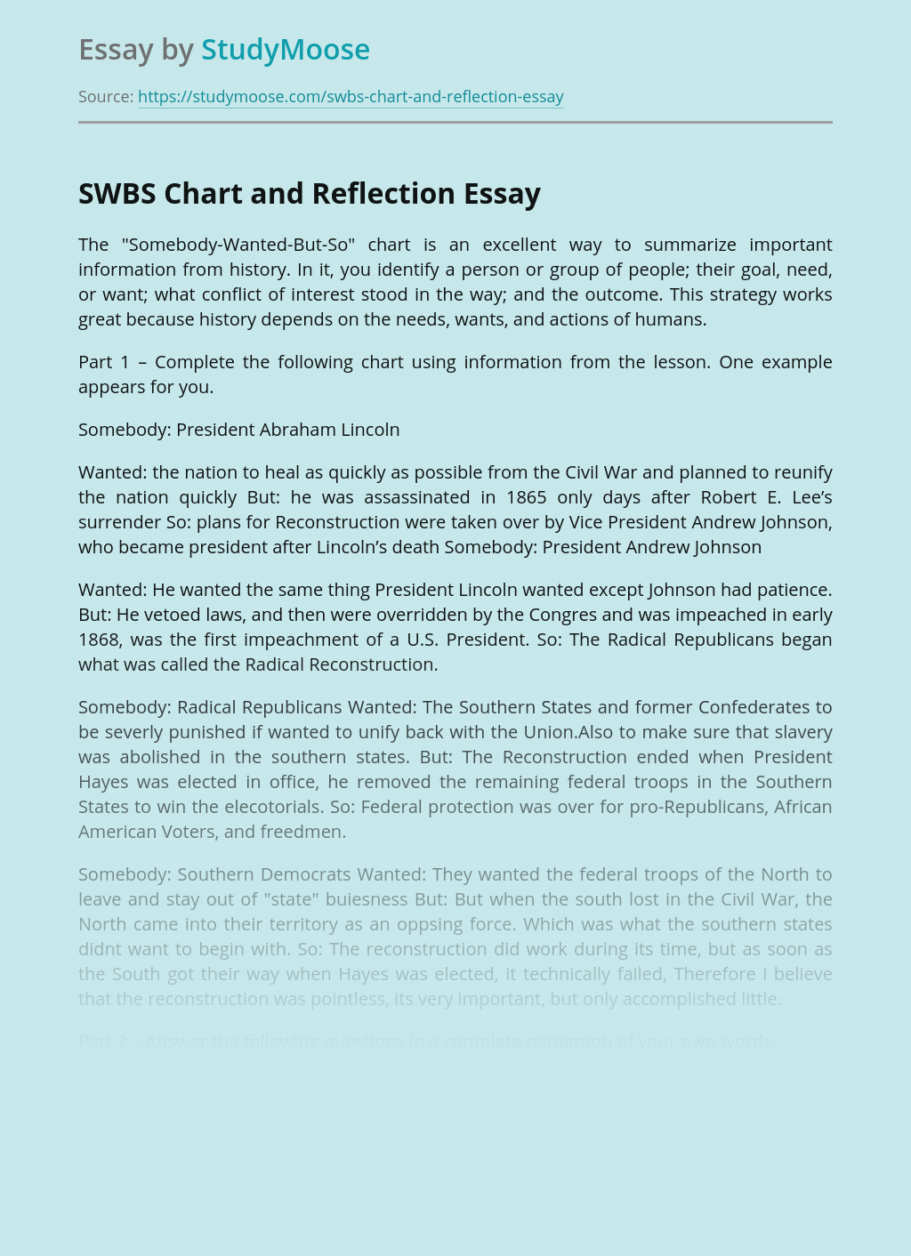 SWBS Chart and Reflection