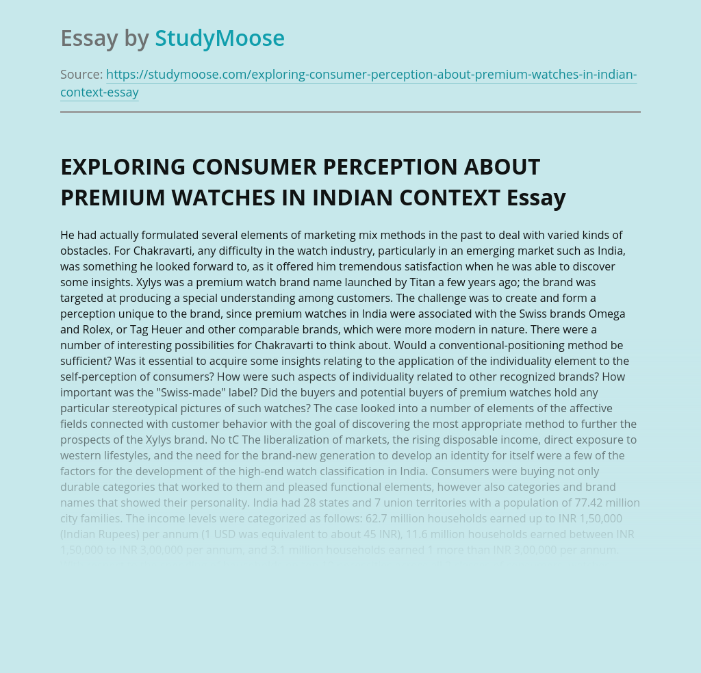 EXPLORING CONSUMER PERCEPTION ABOUT PREMIUM WATCHES IN INDIAN CONTEXT