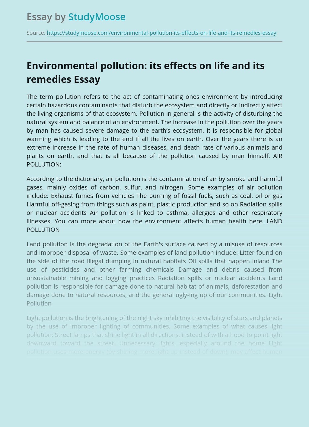 Environmental pollution: its effects on life and its remedies