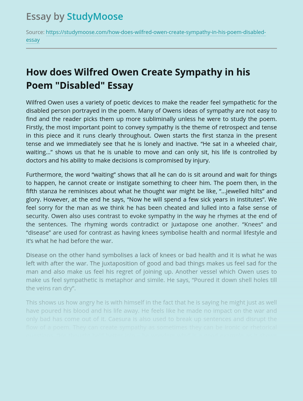 """How does Wilfred Owen Create Sympathy in His Poem """"Disabled"""""""