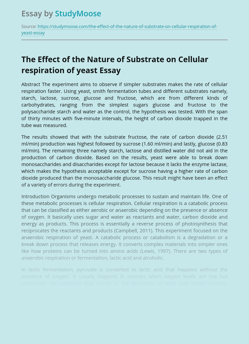 The Effect of the Nature of Substrate on Cellular respiration of yeast