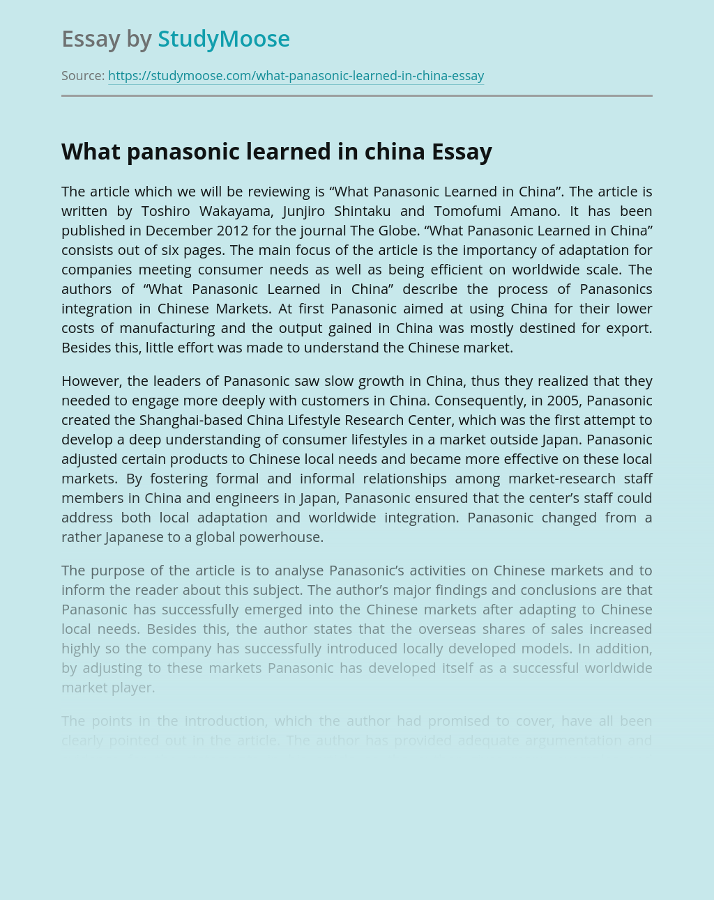 What panasonic learned in china
