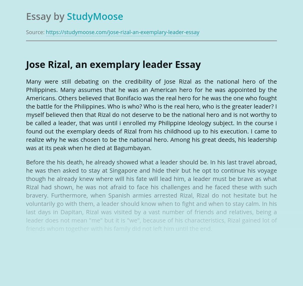 Jose Rizal, an exemplary leader