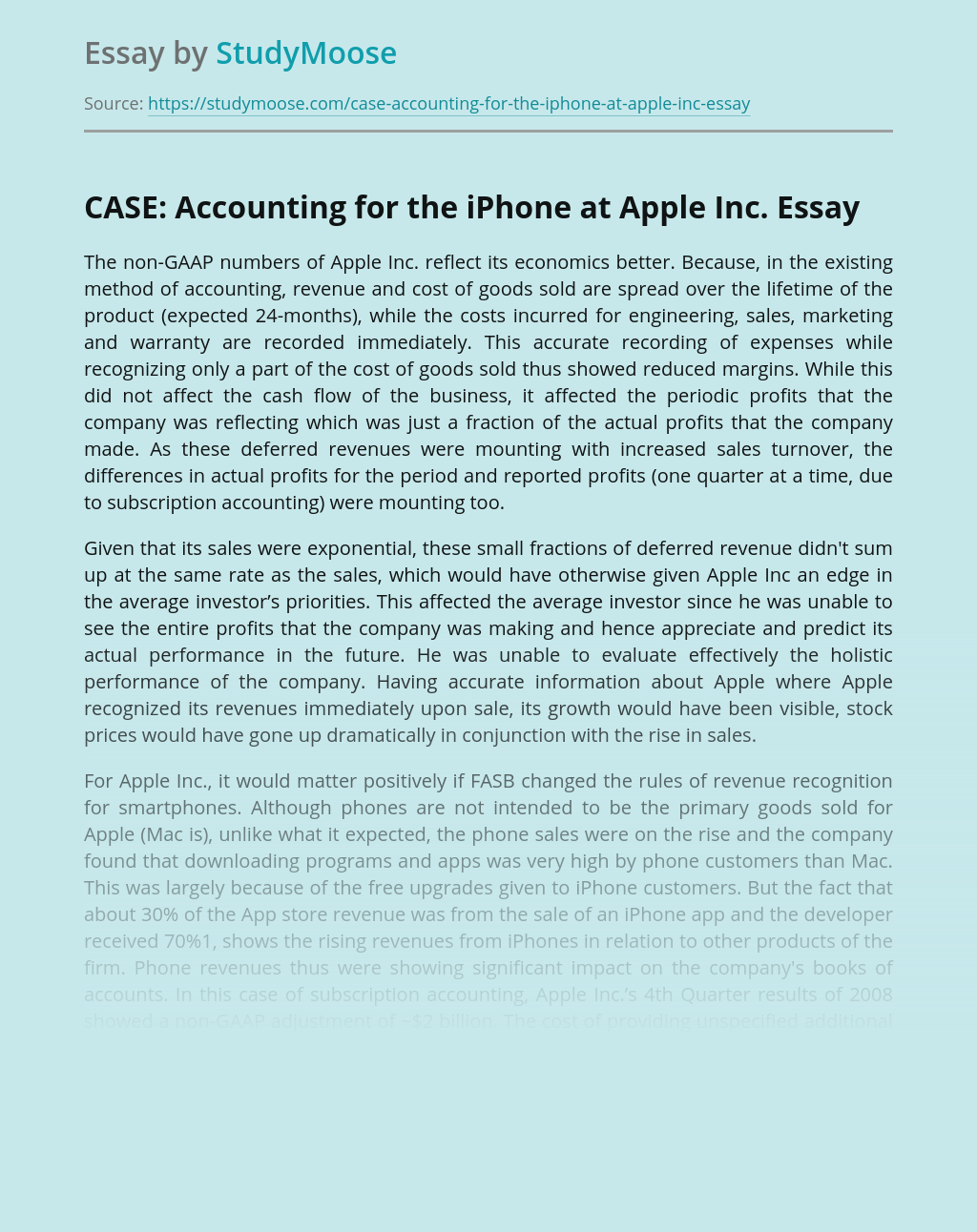 CASE: Accounting for the iPhone at Apple Inc.
