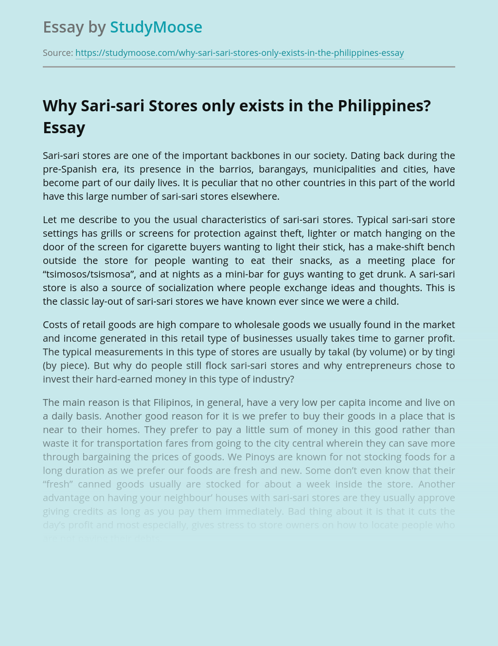 Why Sari-sari Stores only exists in the Philippines?