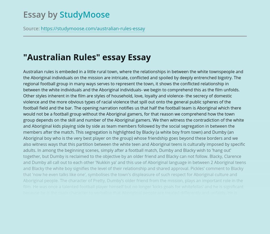"""Australian Rules"" essay"