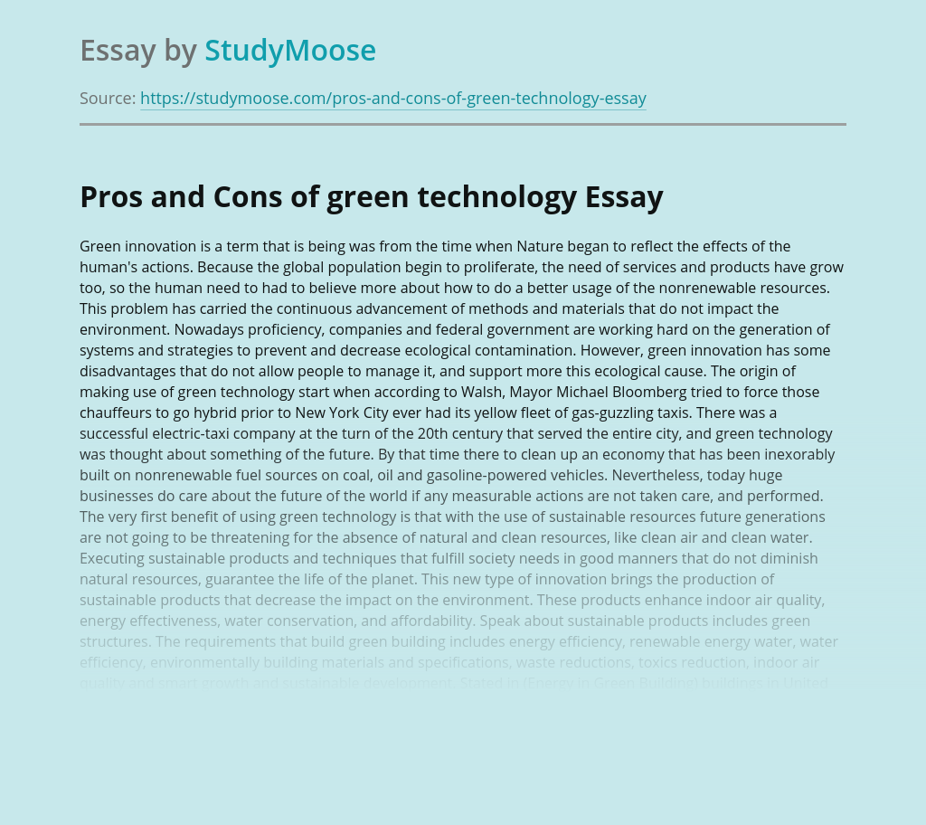 Pros and Cons of green technology
