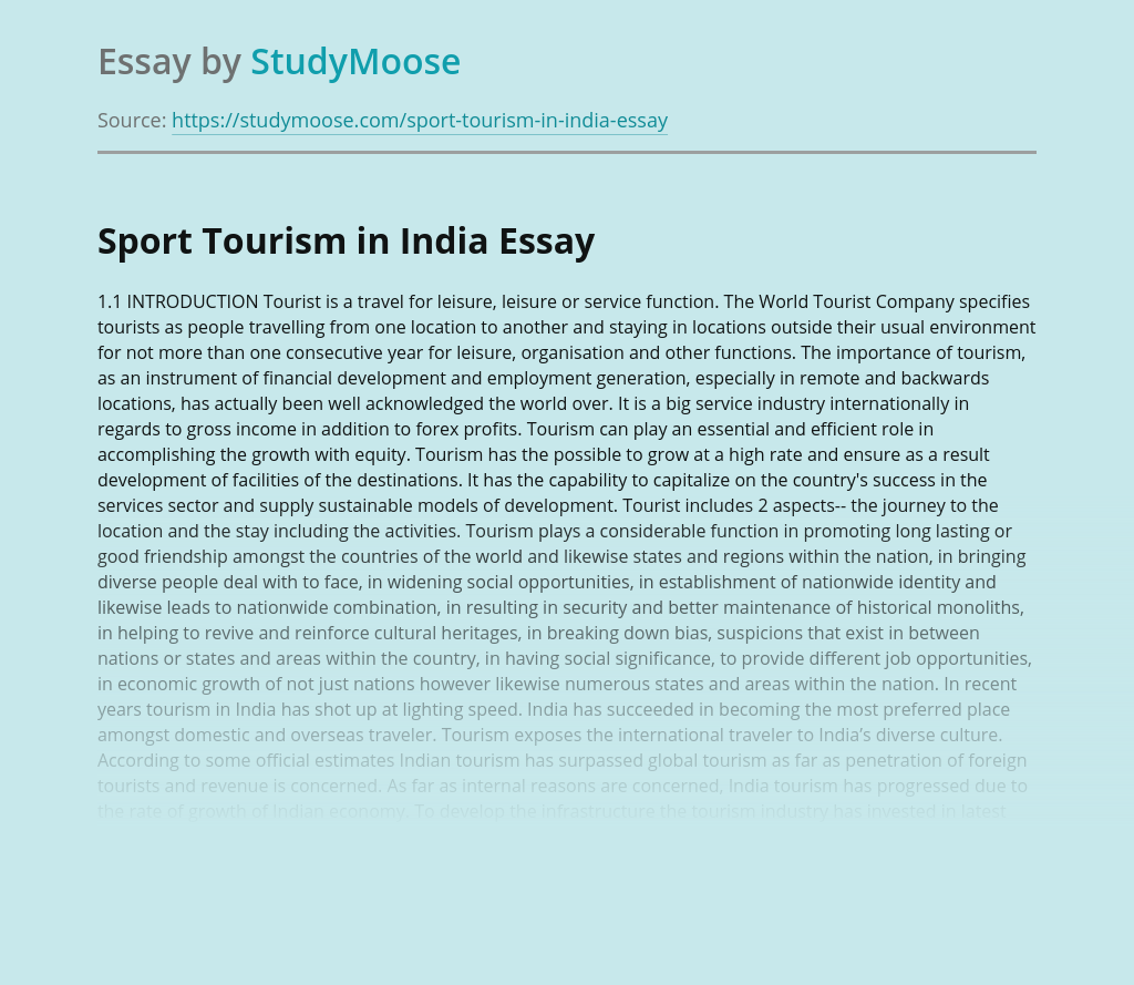 Sport Tourism in India